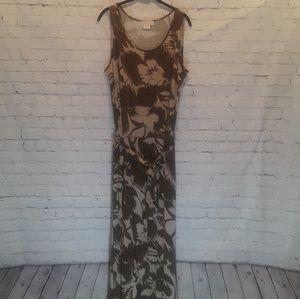 Michael Kors brown and tan maxi dress size 2X